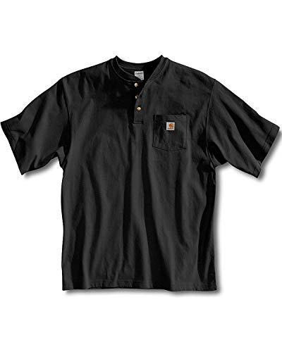 Carhartt Men's Workwear Pocket Henley Shirt, Black, X-Large/Tall