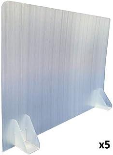 KMINA - Mamparas para Oficinas (Pack x 5 uds), Mampara Protectora Mesa Oficina, Mampara Oficina Plástico, Separador Oficina o Divisor Mesa Escritorio de 70 cm de Largo y 50 cm de Alto