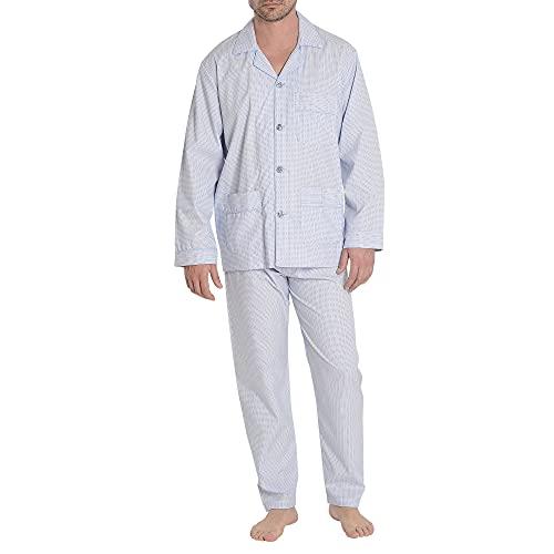 El Búho Nocturno - Pijama Hombre Largo Solapa Popelín Rayas Premium The Gentlemen's Choice Azul Royal 100% algodón Talla 3 (M)