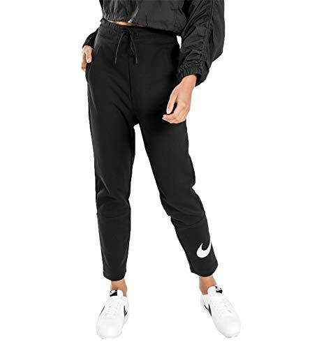 Nike W NSW Swsh Pant Ft, Pantaloni Sportivi Donna, Black/White, M
