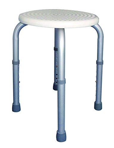 Tiga Med Plus - Taburete de baño (forma redonda, antideslizante, altura regulable de 8 posiciones: 34-52 cm), color blanco