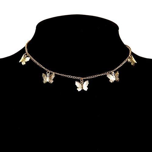 KONZFW collarOro Plata Color Mariposa Cadena Colgante Gargantilla Collar Mujer Collar Bohemia Playa joyería Regalo Collier