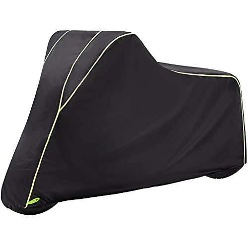 """ILM Motorcycle Cover Ultra Durable Tear Resistant All Season Waterproof Outdoor Protection Vehicle Covers Night Reflective Stripes with Lock Hole Fits up to 90"""" Bikes (Black Large)"""