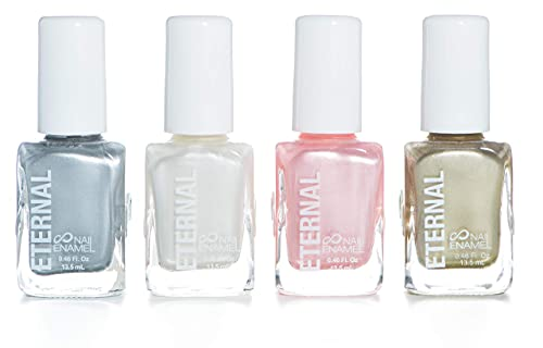 Eternal 4 Nail Polish Collection Metallics Flashback – 4 Pieces Set: Long Lasting, Quick Dry Lacquer