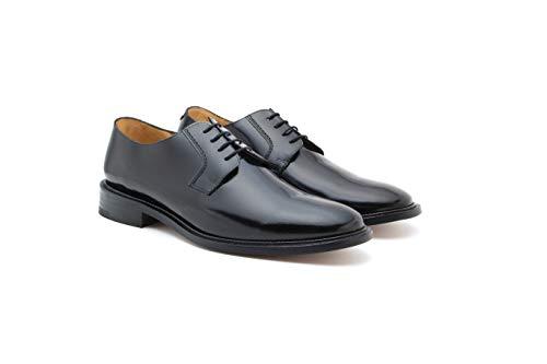 Zapatos De Hombre Piel Ternera Acabado Al Alto Brillo Duque (26, Negro)
