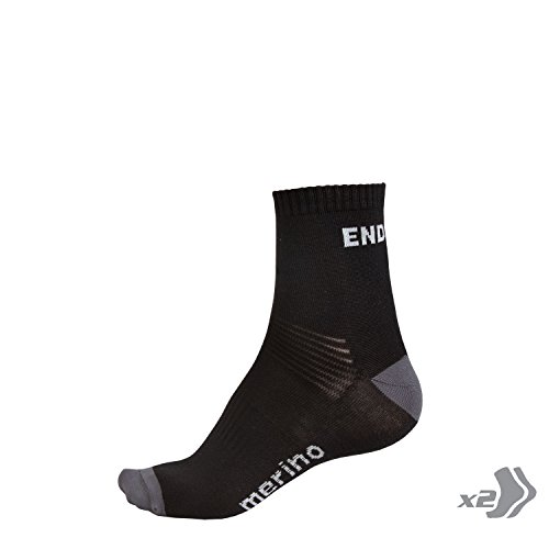 Endura BaaBaa Merino Cycling Cycling Sock (Twin Pack) Black, L/XL
