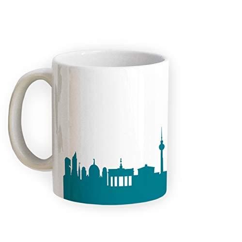 Tasse Berlin Skyline - Bürotasse Kaffeebecher Städtetasse 5 Farben - Personalisierte Geschenkidee für Berliner & Fans, Umzug Richtfest Architekt