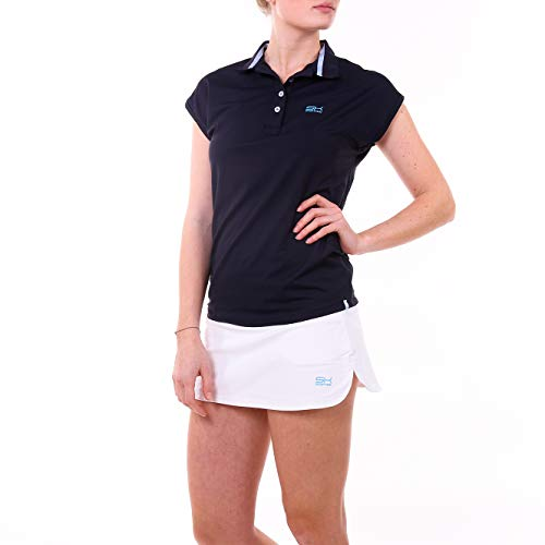 Sportkind Mädchen & Damen Tennis, Golf, Funktions Poloshirt Loose Fit, UV-Schutz UPF 50+, atmungsaktiv, Navy blau, Gr. M