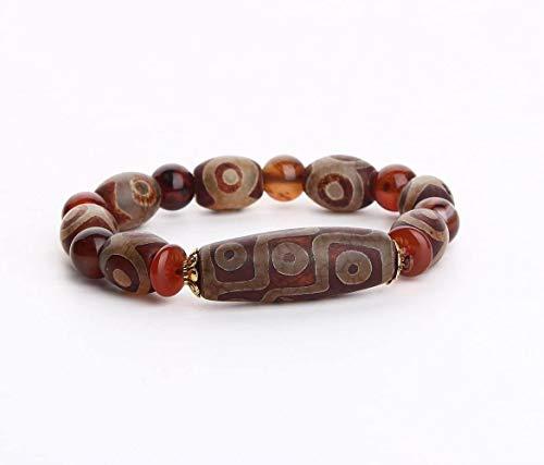 Pulsera Feng Shui Bead Riqueza pulsera, Feng Shui tibetano de Dzi de la pulsera del grano de protección amuleto, atraer abundancia y buena suerte, Deluxe Estuche incluido Pulsera de abalorios de amule