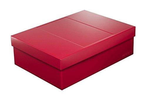 Infinity Boxes Metallbox + Deckel, Aufbewahrungsbox, groß, rot, lebensmittelecht, stapelbar, rechteckig, L25xB18xH8 cm