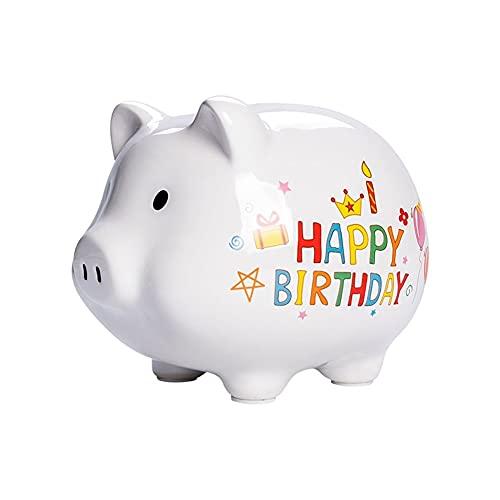 XXZY Piggy Bank Lindo Banco de Monedas Creativa Banco de Dinero para niños Cumpleaños Adulto Boda Decoración de Regalo Grande Capacidad (Color : White)