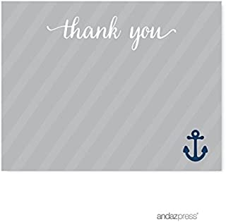 Andaz Press Nautical Baby Shower Collection, Thank You Note Cards, 20-pack