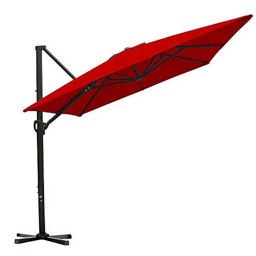 Abba Patio 8 x 10 ft Rectangular Aluminum Offset Patio Umbrella with Crank Lift and Tilt and Cross Base, Dark Red