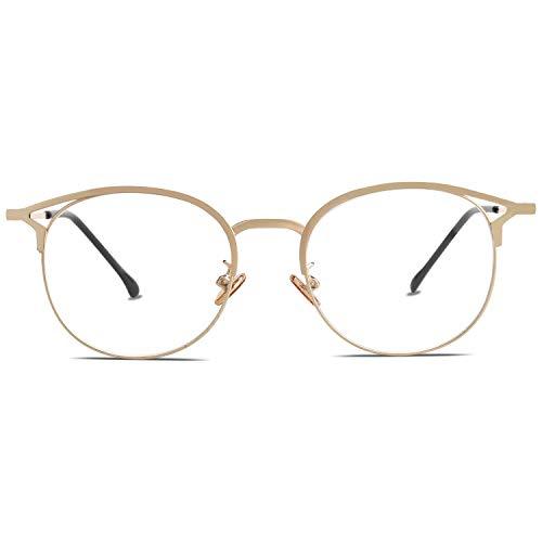 SOJOS Blaulichtfilter Brille Computer Brille Anti Blaues Licht Brille für Damen Hochwertig Blaulicht Brille SJ5035 mit Gold Rahmen/Anti-Blaulicht Linse