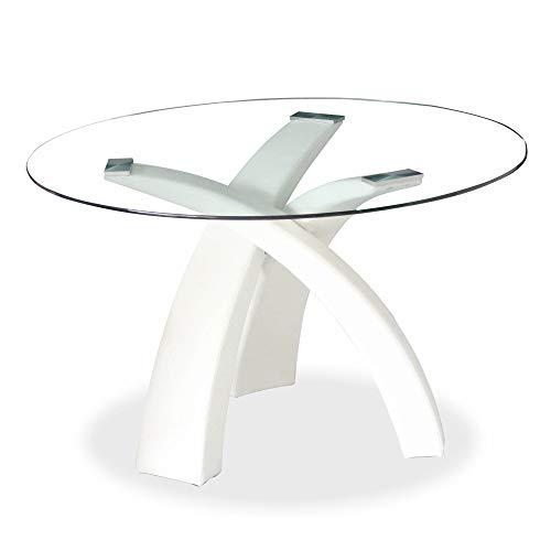 Mobilier Deco - Tavolo da pranzo rotondo in vetro con base bianca Wendy