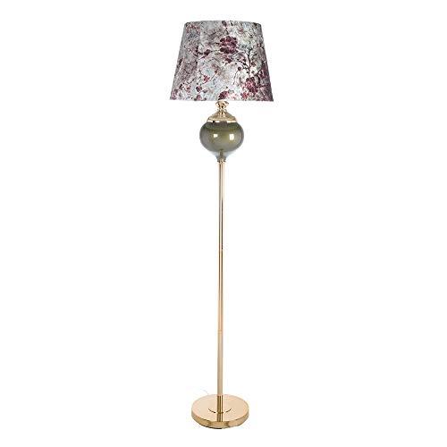 Lámpara de pie con pantalla de flores de cristal y terciopelo dorada y verde de Ø 40x165 cm - LOLAhome