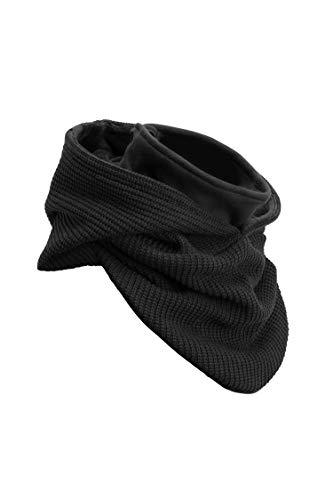 Manufaktur13 Hooded Loop - Kapuzen Schal, Loop aus hochwertigem Alpenfleece, Kapuzenschal/Hooded Scarf in versch. Varianten (M13) (Knit: Black Out)