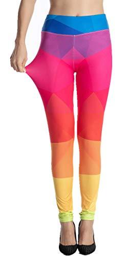 Ndoobiy High Waist Printed Leggings Women's Solid Leggings Soft Yoga Workout Pants Stretchy Capris-HW2(Fishscale OS)