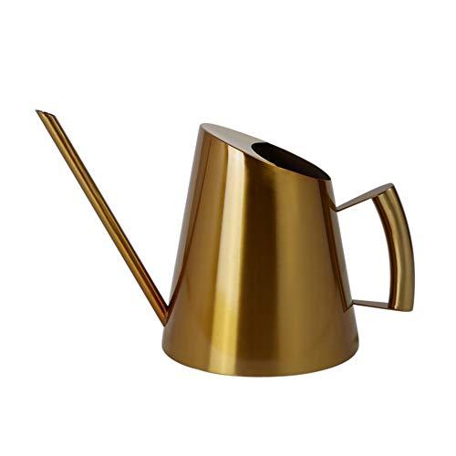Redsa Regadera para interiores con boquilla larga de acero inoxidable dorado, estilo moderno, para plantas en maceta, bonsai, (400 ml)