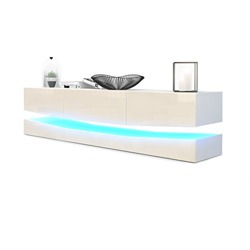 Vladon TV Board Lowboard City, Korpus in Weiß matt/Fronten in Creme Hochglanz inkl. LED Beleuchtung