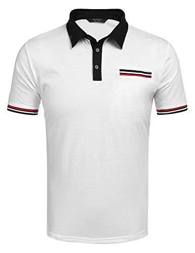 COOFANDY Herren Poloshirt Kurzarm Freizeit Regular Fit Stehkragen mit Knopfleiste Businesshemd Basic Schwarz Polohemd für Männer