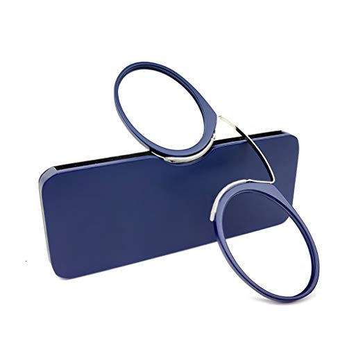 Ongewapend Leesbril, Oval Blue Light Blocking Glasses Compact Pocket Bril Style Clamp Neus Resting Knijpen Reading Glasse For Thuis (Color : Blue, Size : 100°)