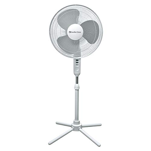 Comfort Zone CZST161BTE 3-Speed 16-inch Oscillating Pedestal Fan with...