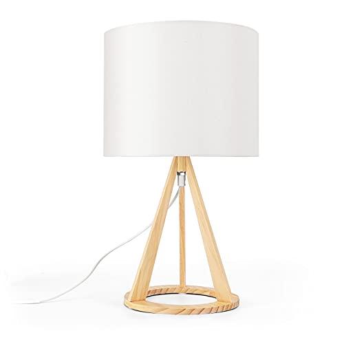 Aigostar- Lámpara de noche creativa de madera, tulipa de tela blanca, 42 cm de alto, lámpara...