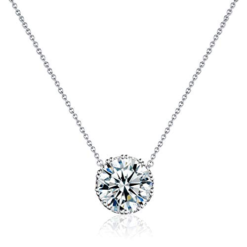 Beyond Love Crown Pendant Necklace 14K White Gold Plated Dainty Silver Chain Choker 2.25 Ct 5A Cubic Zirconia April Birthstone Necklace for Women Girl Jewelry Gift 18