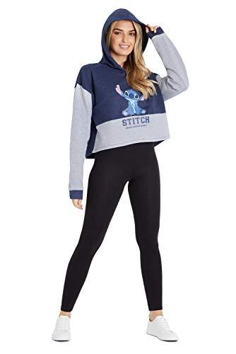 Disney Stitch Sudadera Mujer, Sudaderas Mujer con Capucha Cortas, Sudaderas Crop Mujer y Adolescente Talla XS-XXL (Azul, M)