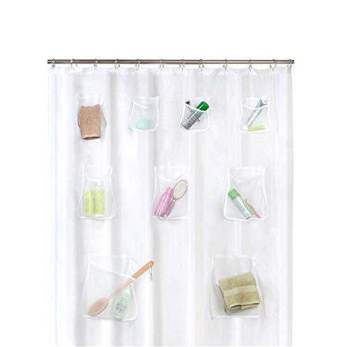 SFSDF Duschvorhang Klarer Duschvorhang mit Tasche Wasserdichtes Badezimmer Transparenter Duschvorhang Duschzubehör 180x200cm mit 12 Haken