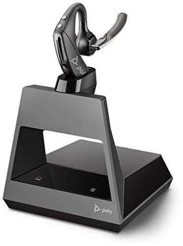 Plantronics Bluetooth-Mono-Headset 'Voyager 5200 Office', WindSmart-Technologie, Adaptive Mikrofone, IPX4, Taste für Sprachsteuerung, NFC, Ladestation mit USB-C, Schwarz