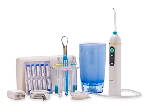 [New and Improved] Jetpik JP200-Elite+ Rechargeable Portable Power Water Flosser with Patented pulsating Floss Technology and Cordless Dental Water Jet Cleaning and Sonic toothbrush in a modern design