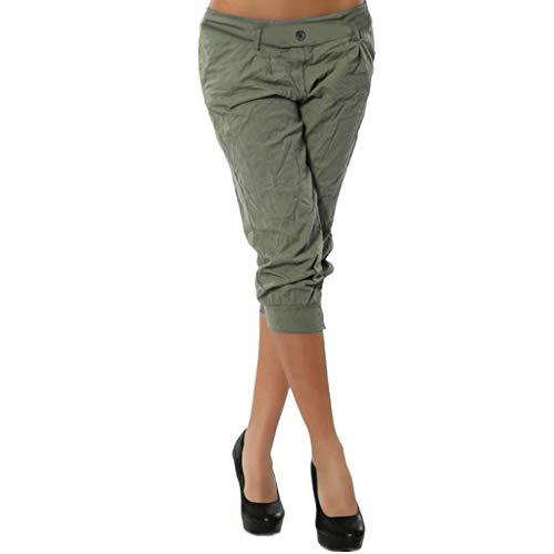 nanzhushangmao pants Damen Hose, elastischer Taillenbund, Boho-kariert, weites Bein, Sommer, Casual Yoga Capris - Grün - 4X-Groß