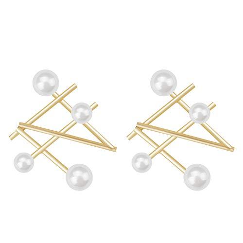 NOBRAND Pendientes De Mujer Pendientes De Perlas Geométricas Irregulares Línea De Metal DoradoPendientes DePerlas Simuladas