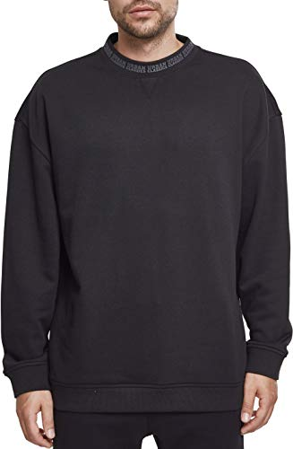 Urban Classics Herren Oversize Logo Crew Sweatshirt, Schwarz (Black 00007), M