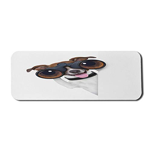Lustiges Computer-Mauspad, Fernglas-Hundesuche, das Wissenschafts-Welpen-Karriere-Vision-Erfolg-Comic-Bild sucht, Rechteck-rutschfestes Gummi-Mauspad großes braunes Weiß