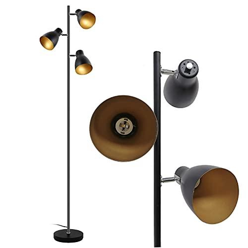 Floor Lamp-Osasy Tree Adjustable Floor Lamp,Retro Metal Floor lamp Black-Gold,E27 Socket Max. 25W |3 Lights| 166cm Spotlight Floor Lamp Industrial for Reading Living Room Bedroom Office