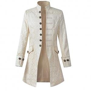 Skyshop Punk Jacke Steampunk Gothic Langarm Jacke Retro Mittellang Mantel Kostüm Cosplay Uniform Herren Weiß XL