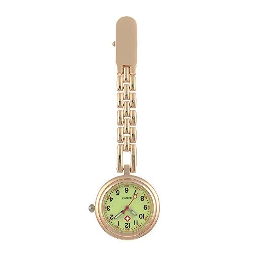 LLRR Reloj Médico de Colores,Nuevos Clips Minimalistas, Mesa de atención médica, Cadena de luz Nocturna, Cofre de Enfermera, luz Nocturna de Oro Rosa,Reloj Digital de Bolsillo