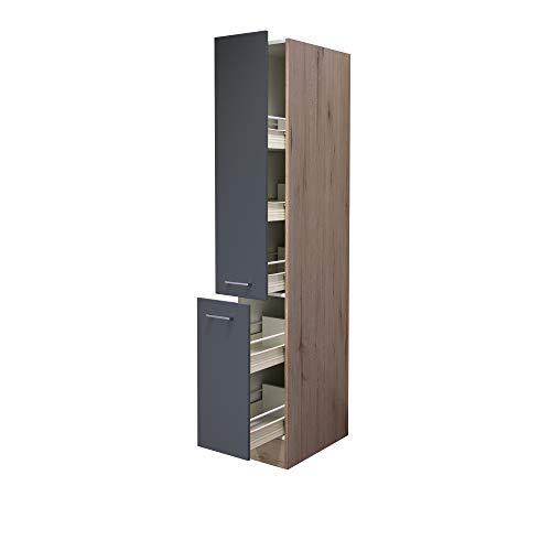 MMR Küchen-Apothekerschrank LIVERPOOL - Hochschrank - 2 Front-Auszüge, 5 Körbe - Breite 30 cm - Basaltgrau Matt