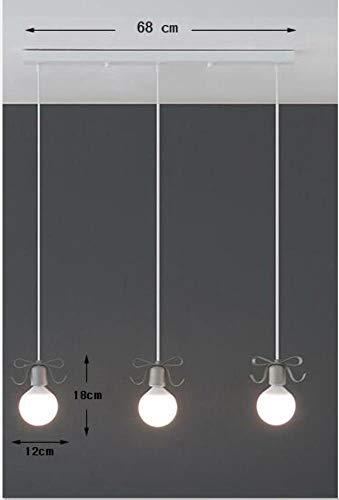 5151BuyWorld LED-lamp, modern design, met strik, 3 lampen, kleur voor kinderkamer, slaapkamer, 5 W, hanger, lamp, kunststof, warmwit, hoogwaardige kwaliteit