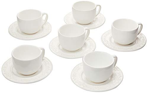 Porto Brasil Conjunto Com 6 Xícaras De Chá C/ 6 Pires Acanthus Branco