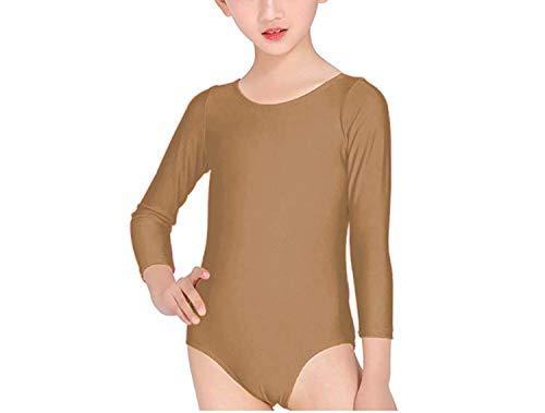 Carnavalife Maillot Ballet Danza Niña de Manga Larga y Cuello Redondo (Beige, 12 años)