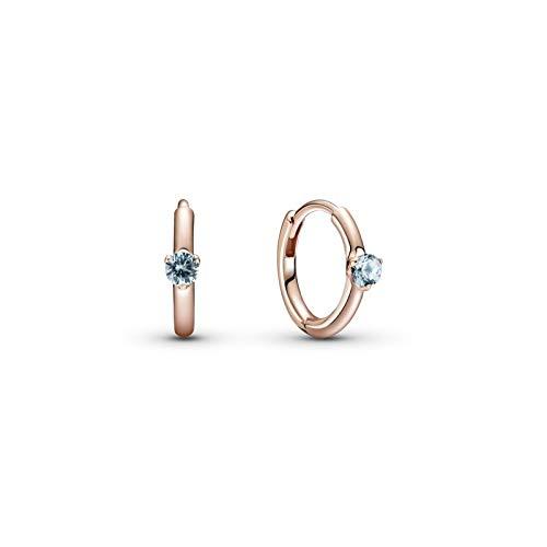 Pandora Pendientes de aro de color azul claro con aleación de metal chapado en oro rosa de 14 quilates y cristales de la colección Pandora Timeless
