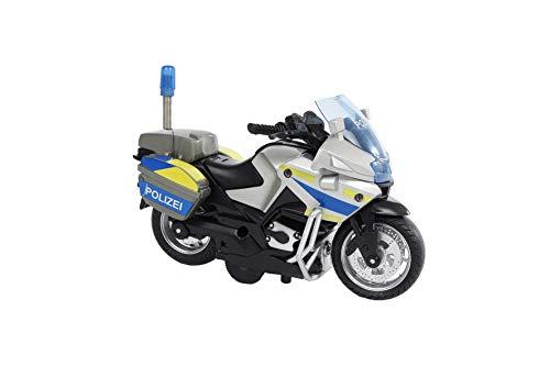 Kids Globe Polizeimotorrad (Einsatzfahrzeug mit Licht + Sound, Motorrad mit Rückzugsmotor, Spielzeug aus Kunststoff, inkl. Batterien) 510247