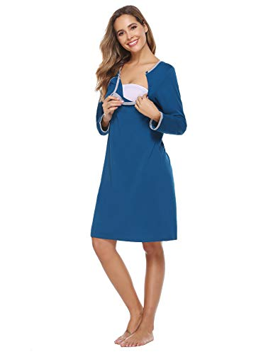 Sykooria borstvoedingsnachthemd dames borstvoedingsshirt lange mouwen met knoopsluiting zomerjurk omstandigheden nachthemd voor zwangere vrouwen en borstvoeding, S-XXL