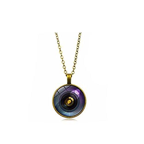 GYKMDF vintage lente de cámara colgante collar cúpula de cristal redondo collares regalo para fotógrafo joyería (bronce)