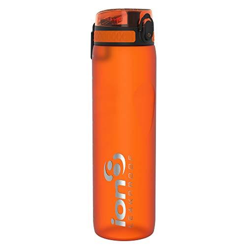 Ion8 Auslaufsichere 1 liter Sport Trinkflasche, BPA-frei, Orange