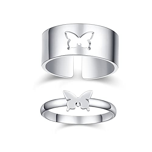Butterfly Rings for Couples 18K White Gold Plated couple rings for him and...